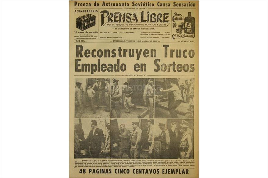 Portada del 19 de marzo de 1965 que detalla la reconstrucción de hechos en torno al fraude en la Lotería Nacional. (Foto: Hemeroteca PL)