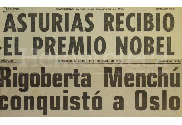 Miguel Ángel Asturias (1967) y Rigoberta Menchú Tum (1992) han sido los únicos dos guatemaltecos reconocidos con el prestigioso galardón. (Foto: Hemeroteca PL)