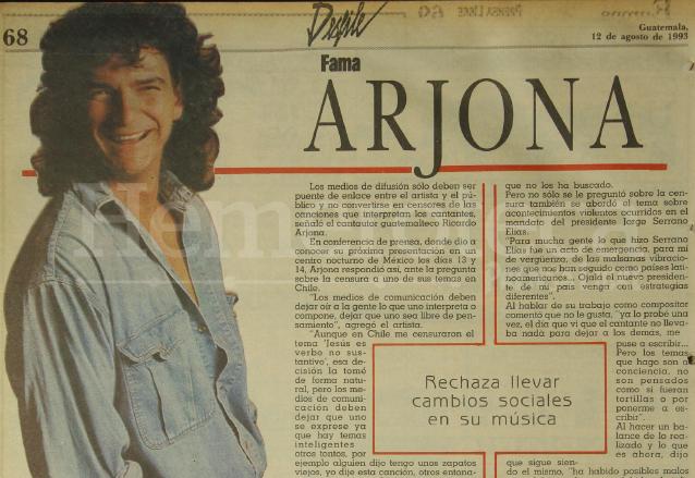 Publicación sobre Ricardo Arjona de 1993. (Foto: Hemeroteca PL)