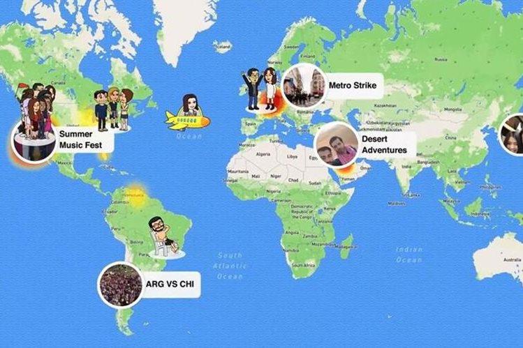 Snapchat realizó una inversión de más de 250 millones de dólares para crear Snap Map, entre lo más destacado de la semana (Foto Prensa Libre: Snapchat).