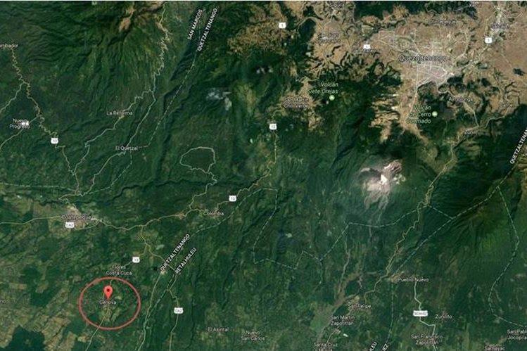 Ubicación de Génova, Quetzaltenango, donde se reporta la muerte violenta de dos personas. (Foto Prensa Libre: Google Maps)