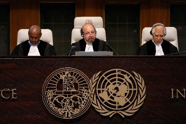Jueces participan en la Corte de La haya, sobre la causa judicial sobre los conflictos fronterizos entre Costa Rica y Nicaragua.