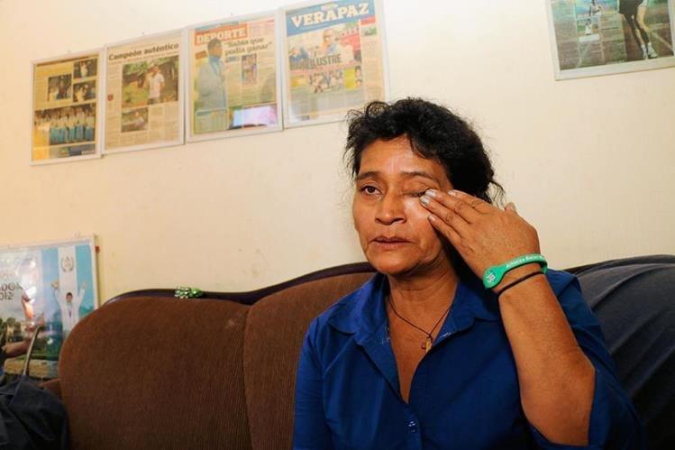 Dora Leticia, madre de Barrondo, lamenta descalificación. (Foto Prensa Libre: Eduardo Sam Chun).
