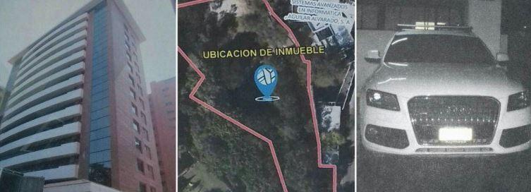 Terrenos, parqueos, bodegas y vehículos vinculados al caso La Línea a los cuales el MP decretó medidas cautelares. (Foto Prensa Libre: MP)