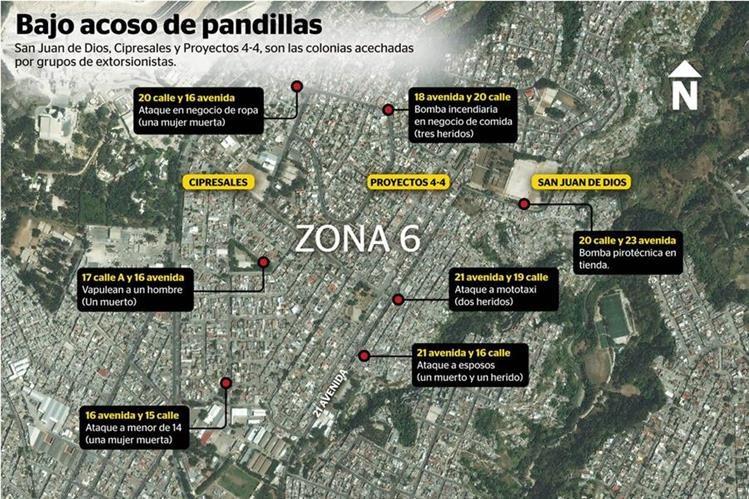 Área donde integrantes de la Mara Salvatrucha y Barrio 18 han llevado a cabo ataques a comercios y personas. (Infografía: Prensa Libre)