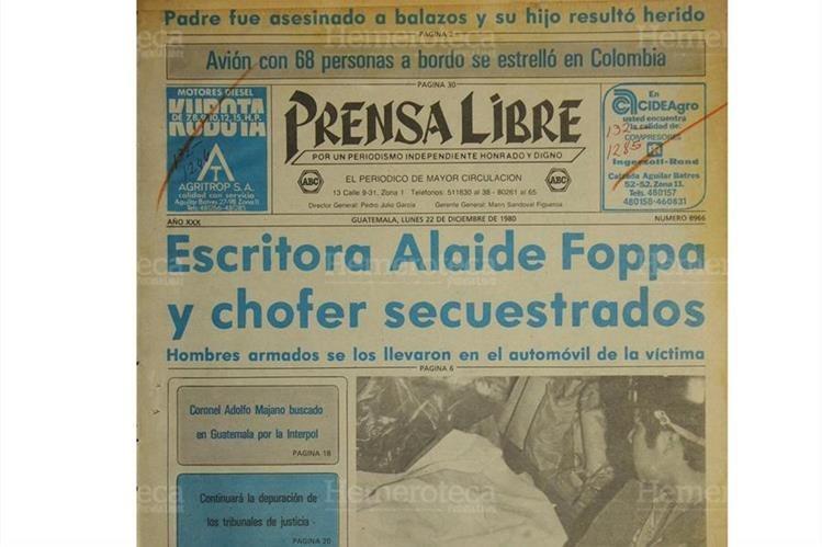 Portada de Prensa Libre del 22 de diciembre 1980 da a conocer el secuestro de la escritora Alaíde Foppa. (Foto: Hemeroteca PL)