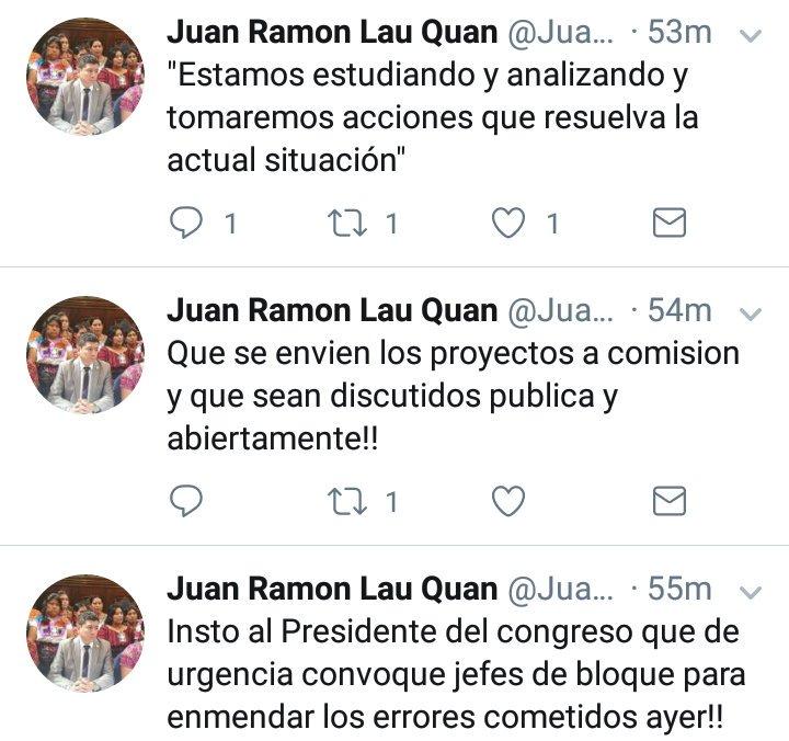 El diputado Juan Ramón Lau dijo que él no impulsó ninguna iniciativa ayer. (Foto Prensa Libre: Twitter)