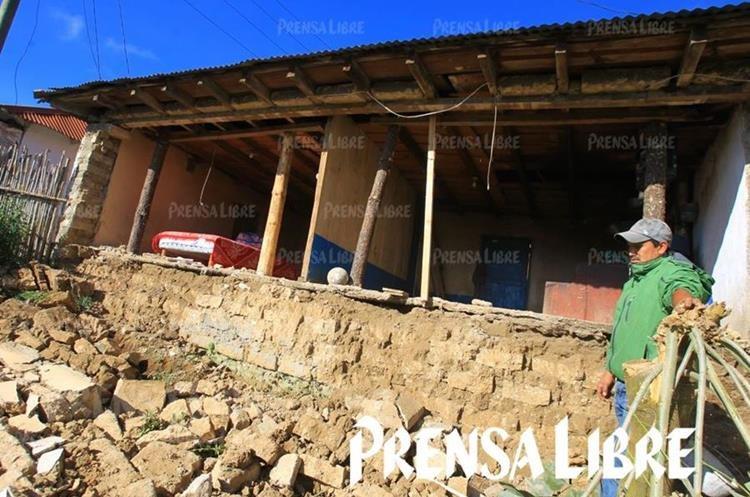 Una vivienda sufrió daños severos en la aldea Aldea Sujchay, Tacaná San Marcos. (Foto Prensa Libre: Álvaro Interiano)