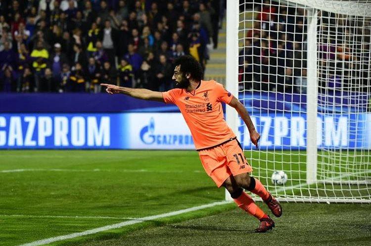 Mohamed Salah anotó un doblete en el partido del Liverpool contra el Maribor. (Foto Prensa Libre: AFP)