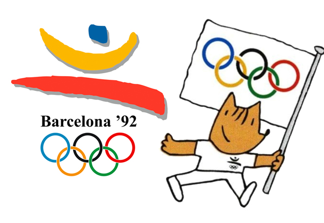 """El logo oficial de los Juegos Olímpicos de Barcelona 1992 y la mascota """"Cobi"""". (Foto: Hemeroteca PL)"""