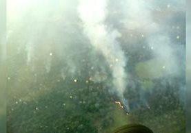 Un sobrevuelo captó la dimensión de los incendios en la Reserva de la Biosfera Maya. (Foto Prensa Libre: Conap)