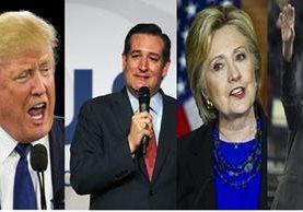Aspirantes a la Presidencia de EEUU, los republicanos Dolnatd Trump, Ted Cruz y los demócratas Hillary Clinton y Bernie Sanders.