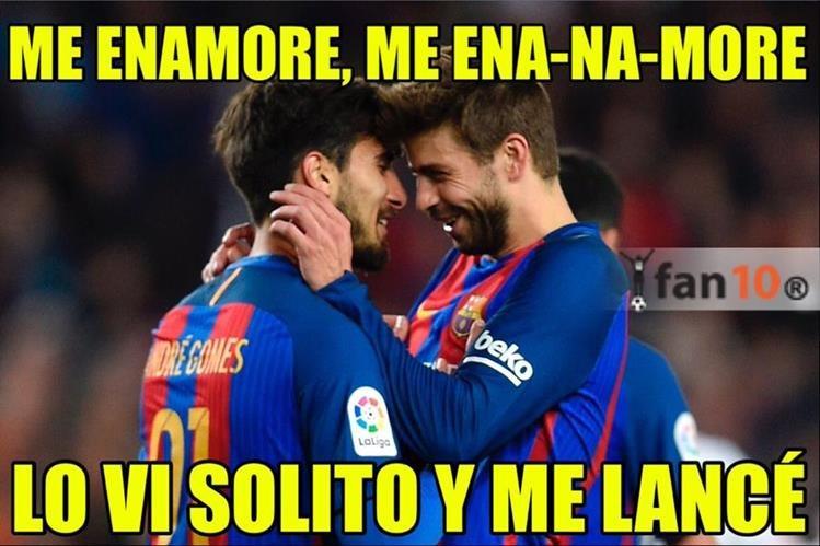El festejo de André Gómes y Piqué también se convirtió en meme. (Foto Prensa Libre: Fan 10)