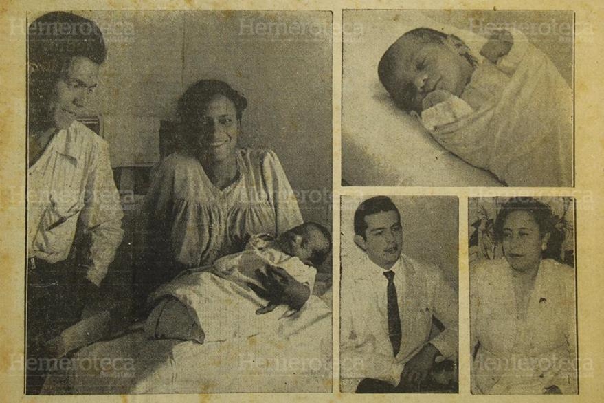 El niño Víctor Hugo Sandoval  Aguilar ganador del concurso de la Cigüeña  de 1957  junto a sus padres,  abajo  doctores que atendieron el parto 3/1/1957. (Foto: Hemeroteca PL)