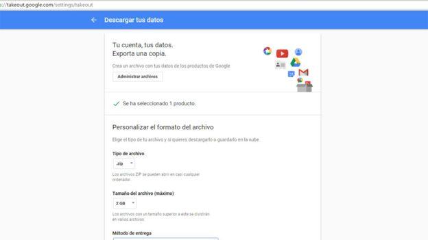 Este es el aspecto del Takeout de Google.