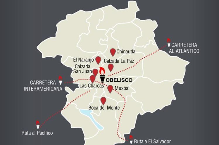 Mapa de las principales rutas que tuvieron dificultades el año pasado, por las antorchas. (Foto Prensa Libre: HemerotecaPL)