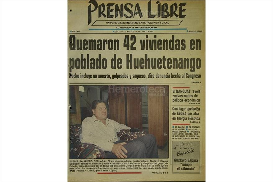 Portda del 10 de julio de 1993, con titular sobre incidente en Huehuetenango. (Foto: Hemeroteca PL)