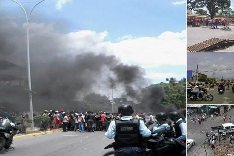 Varias imagenes de los disturbios provocados por saquedores y la policía.