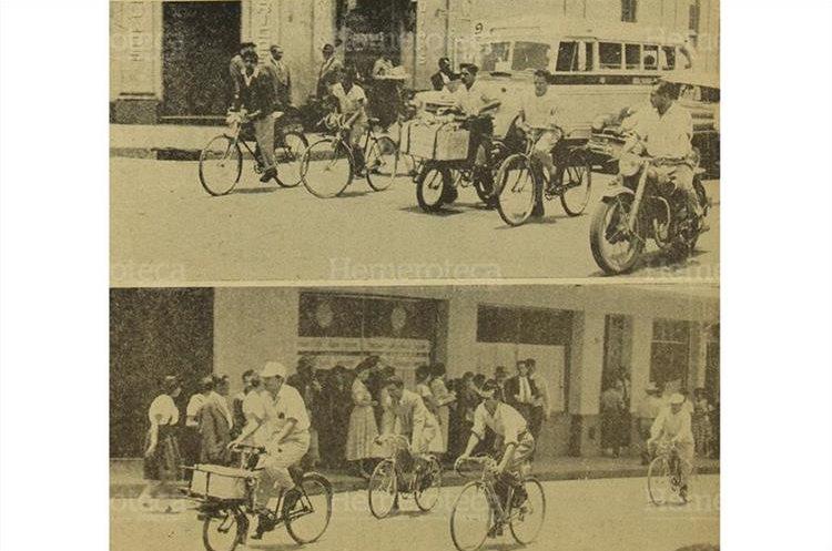 Situaciones como las que muestra la gráfica, dieron origen a la medida que restringía el tránsito de bicicletas y carretas por el centro de la ciudad, 25/4/1956. (Foto: Hemeroteca PL)