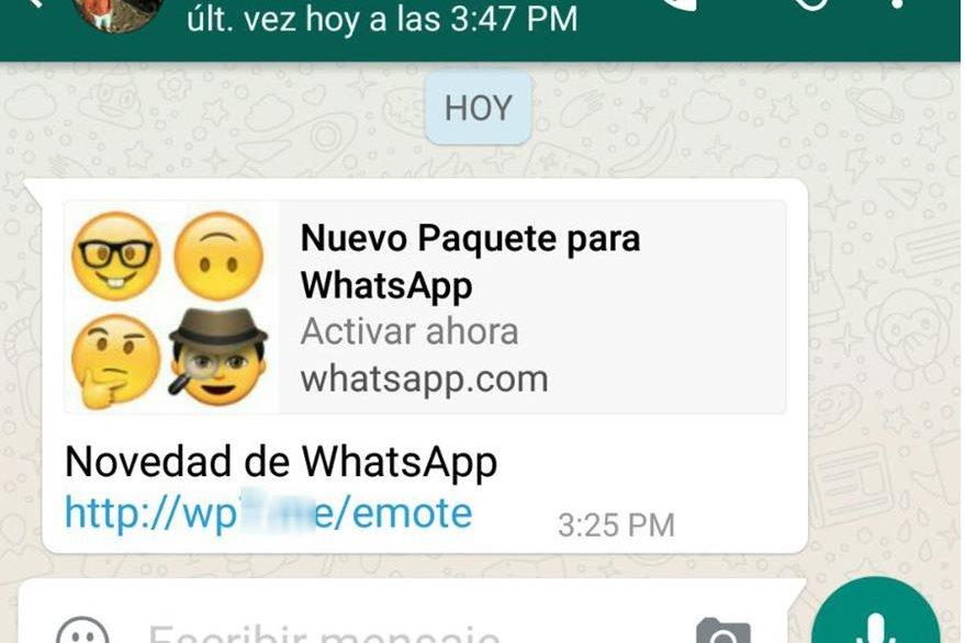 """Imagen del mensaje que llega a los usuarios con la oferta de un falso """"paquete"""" de emojis (Foto Prensa Libre: welivesecurity.com)."""