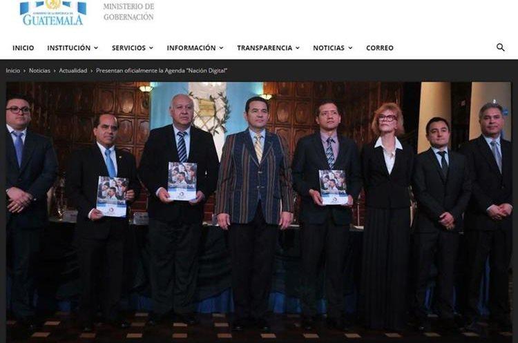 La Agenda Digital con su plan Nación Digital fue presentada por el presidente Jimmy Morales, y varios ministros, en febrero pasado. (Foto, Prensa Libre: mingob.gob.gt)