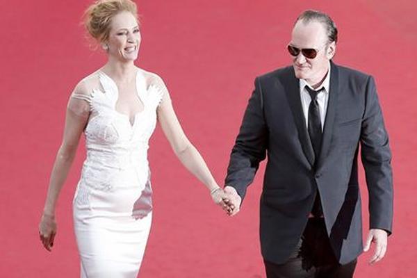 Uma Thurman y Quentin Tarantino asisten a la ceremonia de clausura de Festival de Cannes.