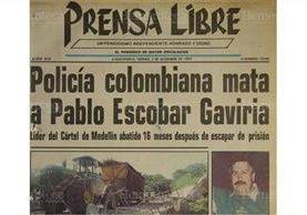 Portada de Prensa Libre del 3/12/1993 da a conocer la muerte de Pablo Escobar. (Foto: Hemeroteca PL)