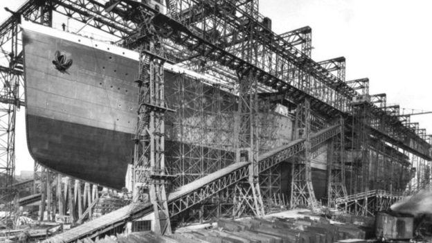 Cuando el Titanic se hundió el Britannic estaba en construcción en los astilleros de Belfast, Irlanda. (WIKIMEDIA COMMONS)