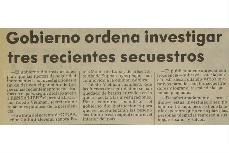 Gobierno responsabiliza a la subversión de los secuestros de la escritora Alaíde Foppa, Clifford Bevens y  Estela Molina, el 30/12/1980. (Foto: Hemeroteca PL)