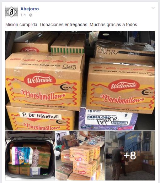 Parte de los productos que la organización entregó a varias fundaciones para ayudar (Foto Prensa Libre: Bar Abejorro)