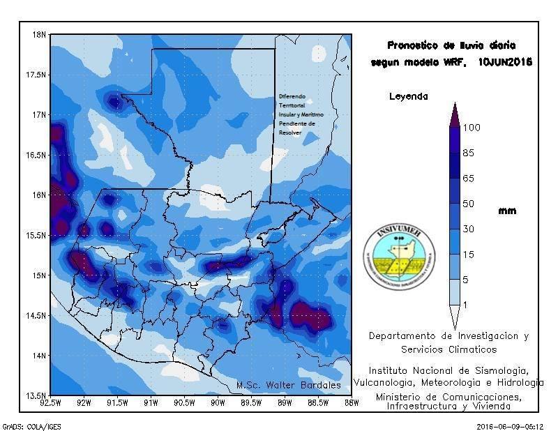 Probabilidades de lluvia según el Insivumeh. (Foto Prensa Libre: Insivumeh)