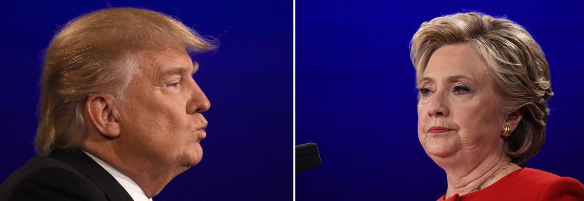 El republicano Donald Trump (izq.) y la demócrata Hillary Clinton, se disputan la presidencia de EE. UU. (Foto Prensa Libre: AFP).