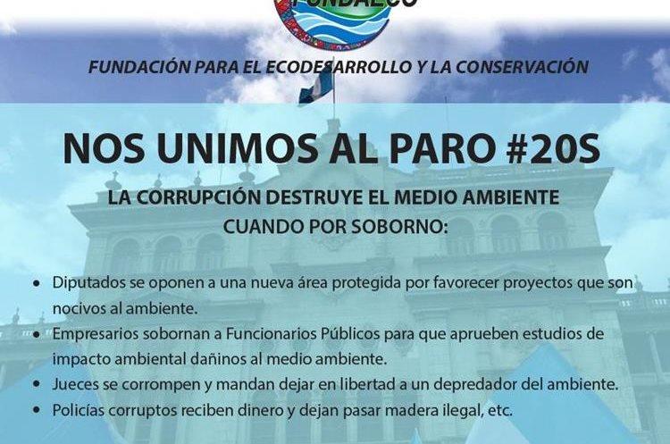 La Fundación para el Ecodesarrollo y la Conservación participan en marcha del 20 de septiembre. (Foto Prensa Libre: Cortesía)