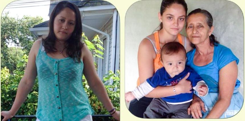 Miriam Samayoa, en EE. UU., y junto a su madre, Marina Véliz y un sobrino. (Foto Prensa Libre: Cortesía)
