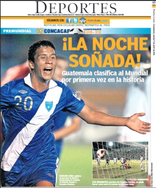 Esta fue la portada de Tododeportes de Prensa Libre al día siguiente de la histórica participación. (Foto Prensa Libre: Hemeroteca)
