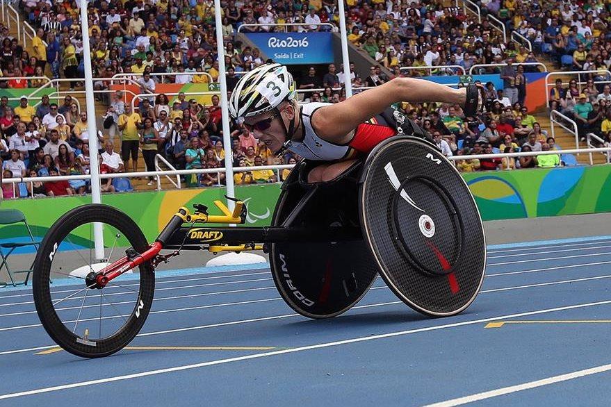 La belga Marieke Vervoort en la competencia femenina de atletismo de 400 m de los Juegos Paralímpicos Río 2016 el pasado viernes. (Foto Prensa Libre: EFE)