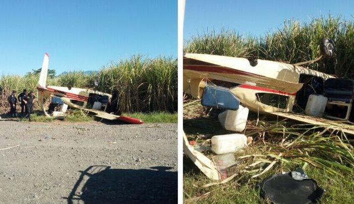 La avioneta fue localizada a orillas de unos cañaverales. (Foto: @PNCdeGuatemala)