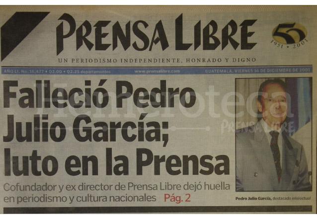 Titular de Prensa Libre del 14/12/2001. (Foto: Hemeroteca PL)