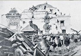 La antigua iglesia de San Nicolás, construida de adobe y piedra quedó destruida por el Terremoto de 1902. (Foto: el Quetzalteco)