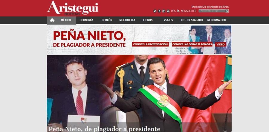 Publicación realizada por el sitio Aristegui Noticias.
