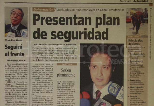 Nota del 6 de agosto de 2004 informando sobre la presentación de un nuevo plan de seguridad por el gobierno de Óscar Berger. (Foto: Hemeroteca PL)