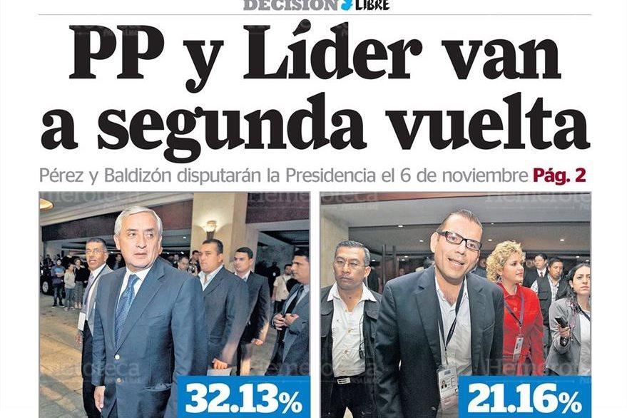 Portada 12/9/2011 de Prensa Libre daba a conocer que  Otto Pérez y Baldizón pasaban a segunda vuelta (Foto: Hemeroteca PL)
