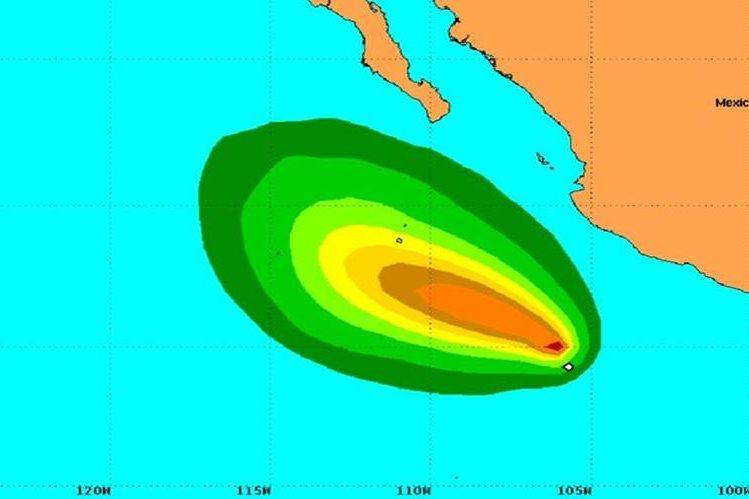Ubicación de la tormenta tropical Rick.