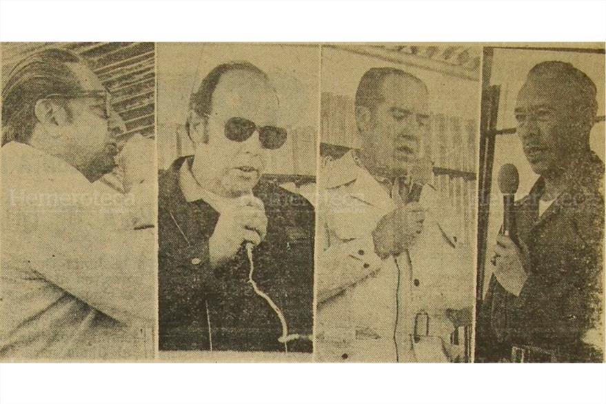 Funcionarios del gobierno de Laugerud García. A la derecha, el gobernante. (Foto: Hemeroteca PL)