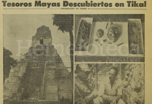 Vista de las joyas encontradas en la fosa dentro del Templo l de Tikal en 1962. (Foto: Hemeroteca PL)