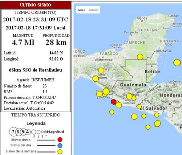 El sismo de magnitud 4.7 fue sensible a las 17.31 horas este sábado. Foto: Insivumeh