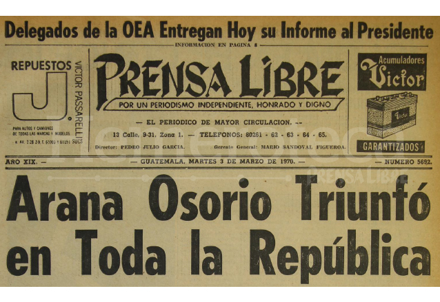 Titular de Prensa Libre del 3 de marzo de 1970. (Foto: Hemeroteca PL)