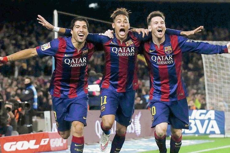El tridente del Barcelona, Luis Suárez, Neymar y Lionel Messi compiten por ser el mejor jugador. (Foto Prensa Libre Hemeroteca PL)