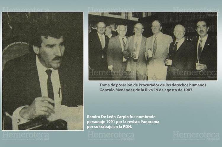 A la izquierda Ramiro de León Carpio cuando fungía como PDH, a la Derecha la toma de posesión del primer procurador de Derechos Humanos del país. (Foto Prensa Libre: Hemeroteca)