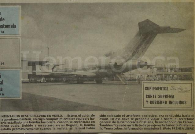 El avión de la Eastern el cual era el objetivo del atentado, un atraso evitó que la bomba estallara en pleno vuelo. (Foto: Hemeroteca PL)
